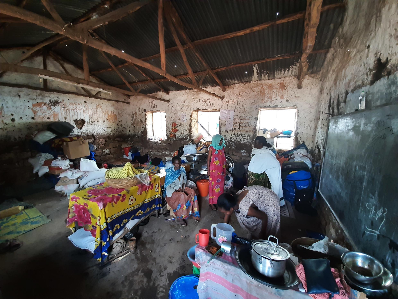 Le camp de Emba Dansu, qui porte le nom de l'école élémentaire de la ville de Shire dans laquelle les Tigréens de l'Ouest ont trouvé refuge, dans la région du Tigré, en Éthiopie, mai 2021.