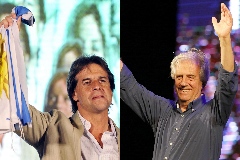 Los candidatos a la presidencia uruguaya Luis Lacalle Pou y Tabaré Vázquez.