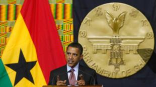 Barack Obama devant le Parlement ghanéen, le 11 juillet 2009.