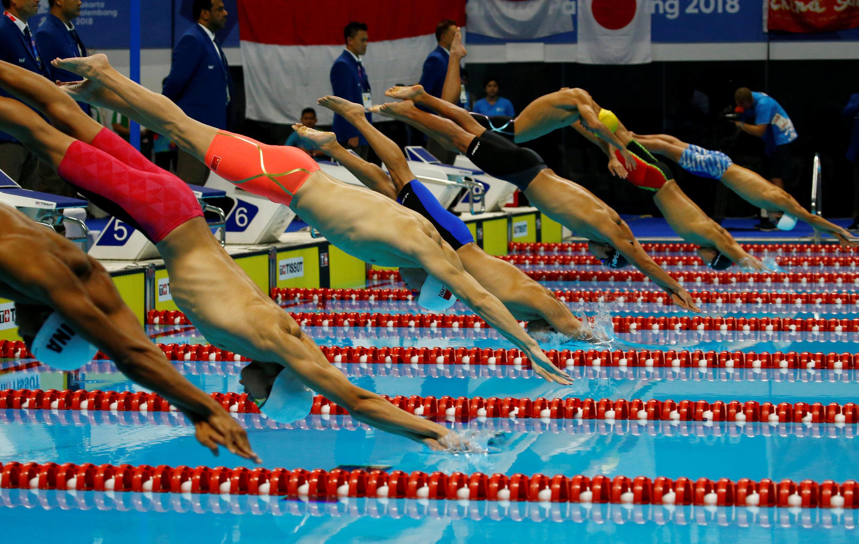L'épreuve de natation 1500m masculin style libre à Jakarta, le 24 août 2018.