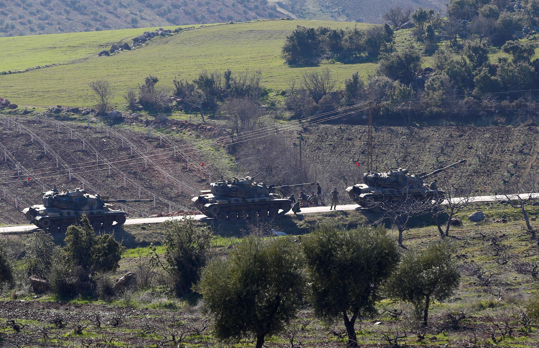 Xe tăng Thổ Nhĩ kỳ ở Kilis, vùng biên giới với Syria. Ảnh ngày 31/01/2018.