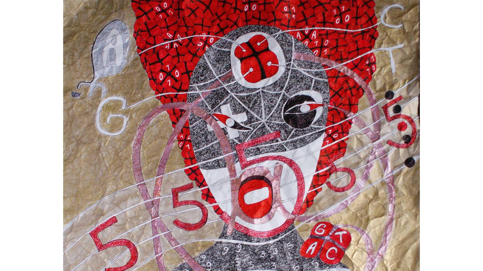 «Seinbolyquement vôtre» par Ernest Dükü. 63 x 48 cm. Dessin sur papier froissé, 2013.