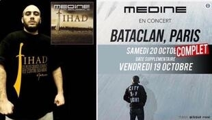 Detalle de la portada del disco Jihad de Médine y del afiche del concierto programado en el Bataclan.