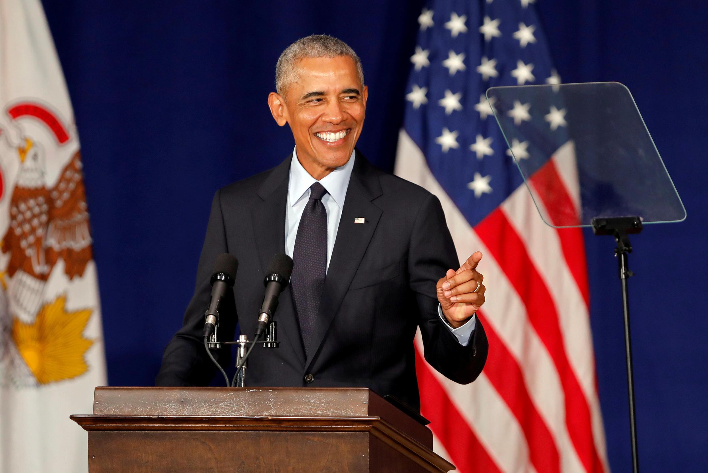Barack Obama, tsohon shugaban Amurka na jawabi a jami'ar Illinois, ranar 7 ga watan satumbar 2018.