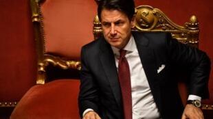 El primer ministro italiano, Giuseppe Conte, em 20 de agosto de 2019 en el senado, en Roma.
