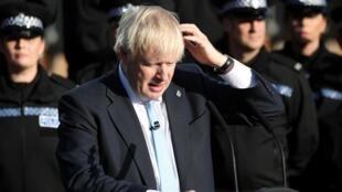 O  Primeiro-ministro britânico, Boris Johnson, no passado dia 5 de Setembro, na região inglesa do  West Yorkshire.