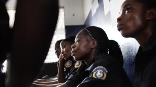 Women police officers working in the Salem Police Station in Monrovia, Liberia