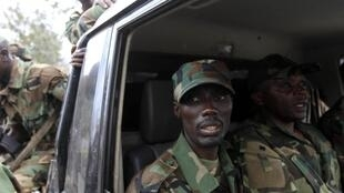 Congolese Revolution Army (CRA) rebel leader Sultani Makenga sits in a truck in Goma in the eastern Democratic Republic of Congo