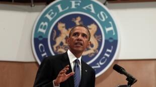 Tổng thống Mỹ Barack Obama nói chuyện với sinh viên và khách tại Belfast Waterfront, tại Belfast, Bắc Ai-len, ngày 17/06/2013