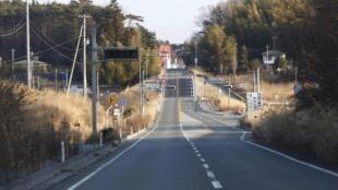 Route abandonnée dans la zone d'exclusion autour de Fukushima, le 15 janvier 2012.