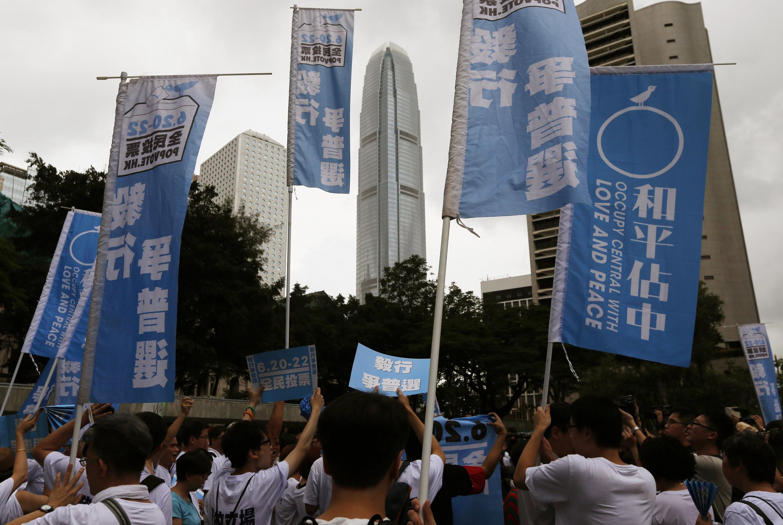 Các tổ chức Hồng Kông tập hợp kêu gọi dân Hồng Kông tham gia cuộc bỏ phiếu trên mạng 20/06/2014 - REUTERS