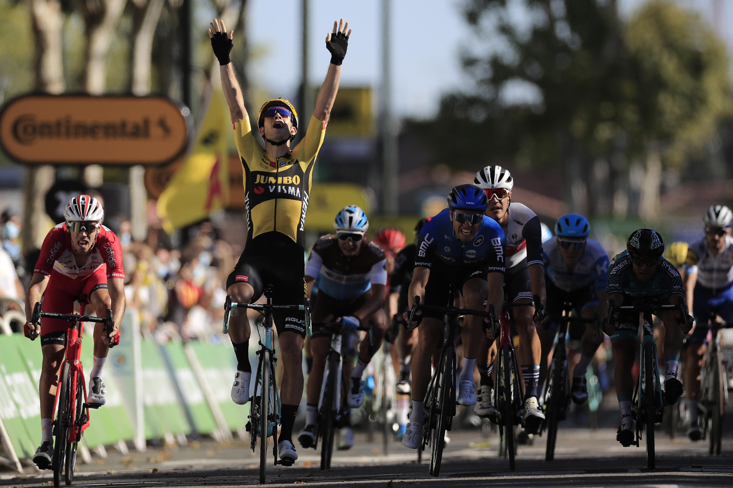 Wout van Aert edged the sprint to claim the seventh stage of the Tour de France in Lavaur in southern France.