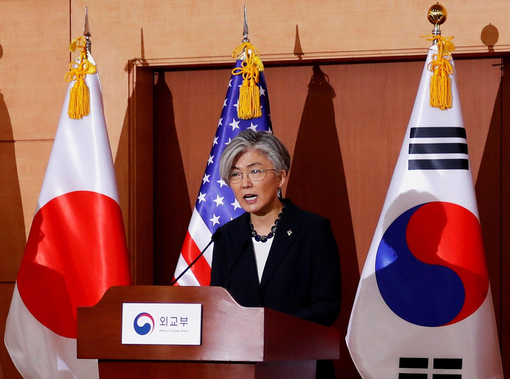 Kang Kyung Wha, ngoại trưởng Hàn Quốc trong cuộc họp báo tại Seoul ngày 14/06/2018.