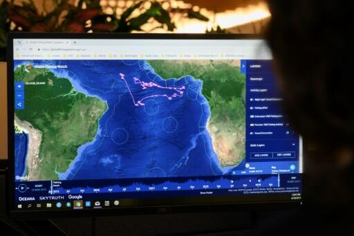 The web site Global Fishing Watch at the headquarters of the NGO Oceana in Washington