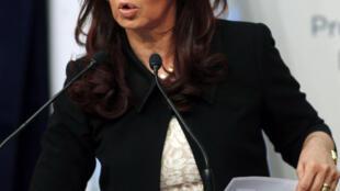 La presidenta Cristina Fernández de Kirchner, este martes, en la Casa Rosada, en la presentación del informe de 26 mil páginas sobre Papel Prensa