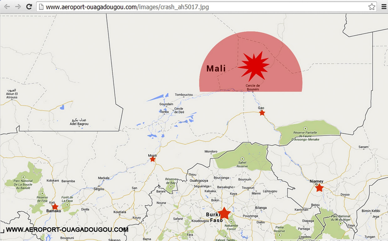 CLIENTS Màn hình trang chủ sân bay Ouagadougou cho thấy bản đồ địa điểm chiếc máy bay Air Algérie bị mất liên lạc ngày 24/07/2014.