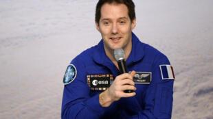 Le Français Thomas Pesquet raconte son vol vers l'ISS à la presse ce mardi 6 juin depuis Cologne, en Allemagne.