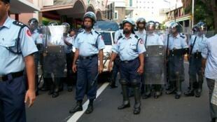 Mauritius Police Demonstration PortLouis Jacques Achille 2012