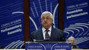 Mahmoud Abbas lors de son discours devant  l'Assemblée parlementaire du Conseil de l'Europe à Strasbourg, le 6 octobre 2011.