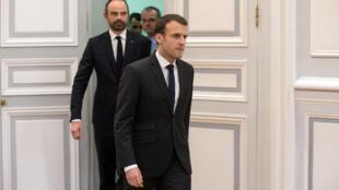 法國總統馬克龍、總理菲利普在奧德省發生恐襲事件之後緊急研究對策。