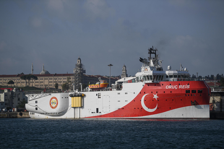 El barco de exploración turco Oruc Reis, atracado en el puerto de Haydarpasa, el 23 de agosto de 2019 en Estambul