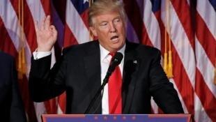 Donald Trump phát biểu ngay sau khi thắng cử tổng thống Mỹ ngày 09/12/2016 tại Mahattan, New York.