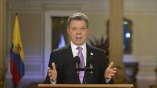 Le président colombien Juan Manuel Santos lors d'un discours au palais présidentiel le 10 mars 2015.