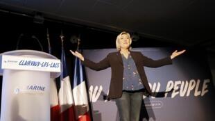A candidata do partido Frente Nacional, Marine Le Pen