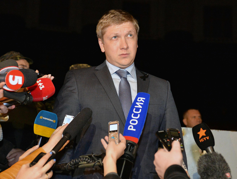 Andriy Kobolev, who has been sacked as head of Ukrainian state energy company Naftogaz, addresses reporters in 2014