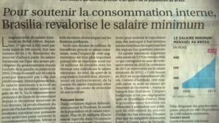 Artigo do jornal Les Echos sobre o aumento do salário mínimo no Brasil.