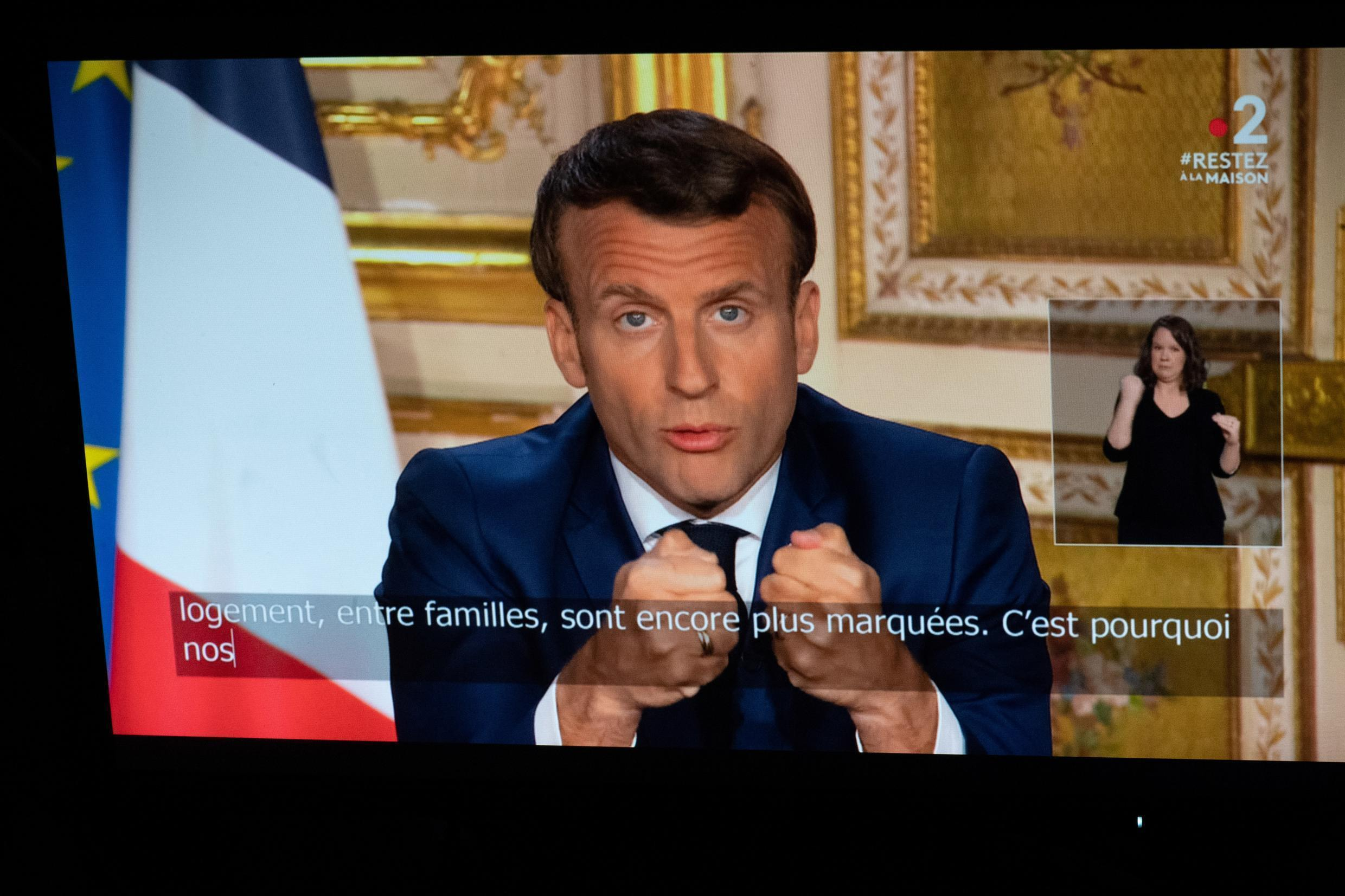 French President Emmanuel Macron addressing the nation on 13 April, 2020 and admitting the government made mistakes in its handling of the coronavirus pandemic