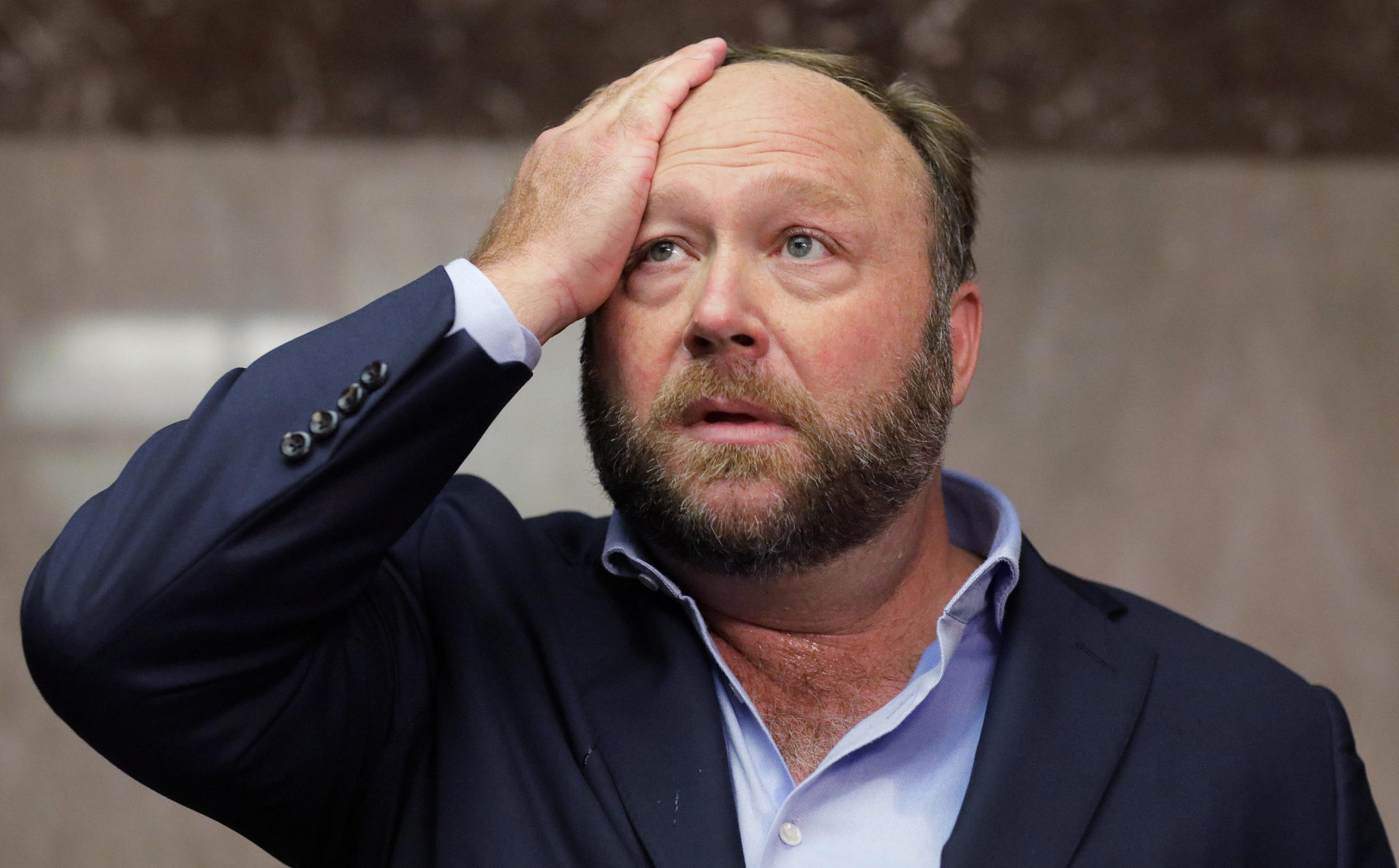 American broadcaster and conspiracy theorist Alex Jones of InfoWars at a hearing at the Senate in Washington, 5 September 2018.