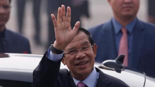 Le Premier ministre cambodgien Hun Sen lors d'un déplacement à New Delhi (Inde), le 24 janvier 2018.