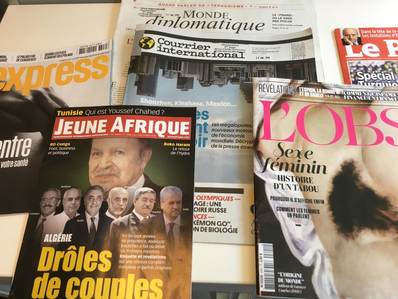 Capas dos semanários franceses de 13 de agosto de 2016