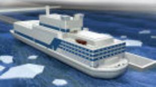 圖為疑似俄羅斯海上漂浮式核電站模型