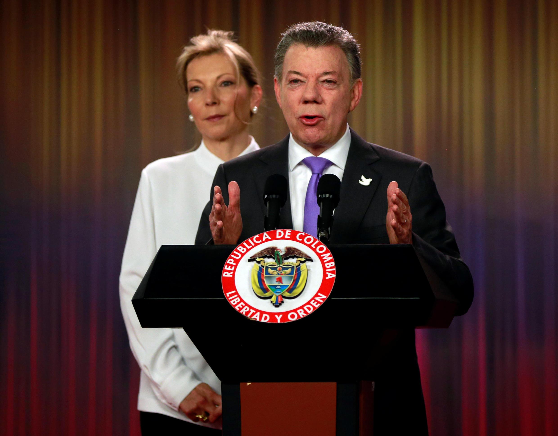 O presidente colombiano Juan Manuel Santos, durante coletiva nesta sexta-feira (07) em Bogotá.