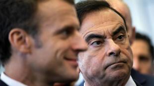 雷诺日产总裁戈恩2018年11月8日陪同法国总统马克龙参观雷诺下属公司。
