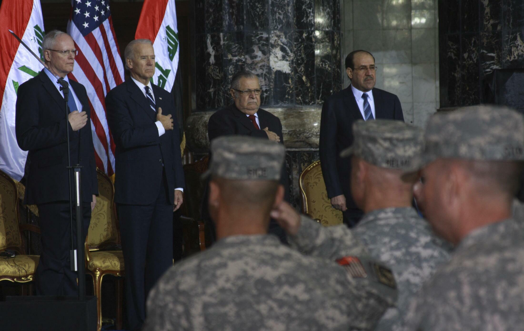 Une des cérémonies marquant le départ définitif des soldats américains d'Irak. Bagdad, le 1er décembre 2011.