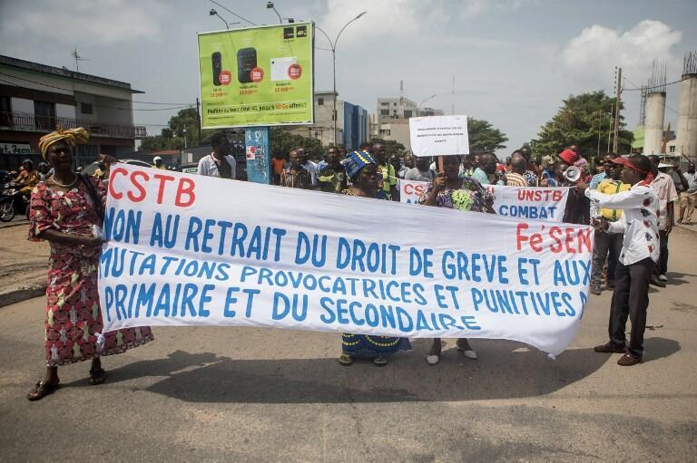 (Illustration) Dans les rues de Cotonou, septembre 2018, la Confédération des syndicats du Bénin CSTB et l'Union nationale des syndicats du Bénin UNSTB protestaient contre plusieurs réformes engagées par le gouvernement et le président Patrice Talon.