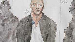 A drawing of Mehdi Nemmouche during a court appearance in France, 26 June 2014