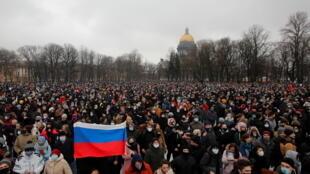 Акция в защиту Алексея Навального в Санкт-Петербурге, 23 января 2021.
