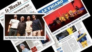 Na imprensa francesa desta quinta-feira destaque para a turnê europeia de Caetano e filhos, com o show Ofertorio, que estreia esta noite em Lyon, no sudeste da França.