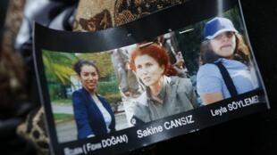 De gauche à droite : Fidan Dogan, Sakine Cansiz et Leyla Soylemez, toutes les trois retrouvées mortes à Paris, jeudi 10 janvier 2013.