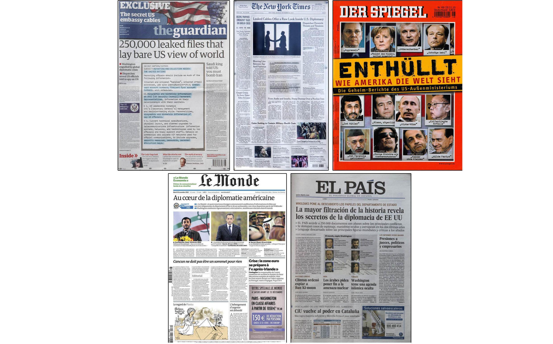 Trang nhất các báo ra tại châu Âu ngày  29/11 phủ kín các tài liệu mật được Wikileaks phát tán