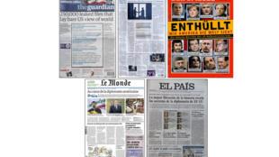 Les Unes du 29 novembre des cinq journaux qui ont publié les informations révélées par WikiLeaks.