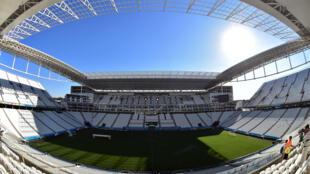 """Стадион """"Арена Коринтианс"""", на котором пройдет матч открытия чемпионата мира по футболу Бразилия-Хорватия, Сан-Паоло, 12 июня 2014 г."""