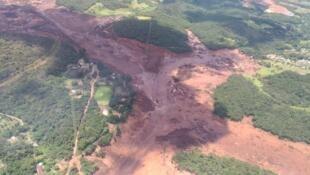 Imagem da tragédia ambiental de Brumadinho ocorrida no dia 25 de Janeiro, no estado brasileiro  de Minas Gerais