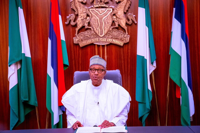 Le président nigérian Muhammadu Buhari lors d'une allocution télévisée, le 22 octobre 2020.