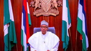 Nigerian President Muhammadu Buhari during yesterday's televised address to the nation..