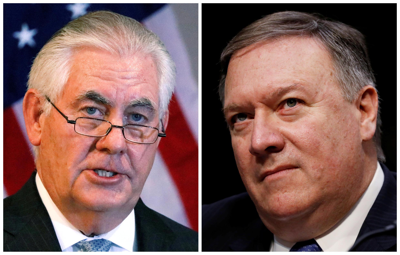 Ông Rex Tillerson (T) rời khỏi chức ngoại trưởng Mỹ, nhường chỗ cho nguyên giám đốc CIA, Mike Pompeo ngày 13/03/2018.